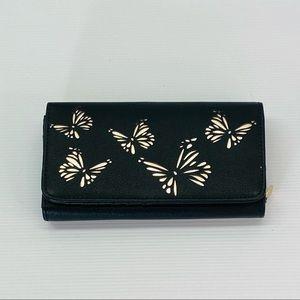 LAURA JONES Black Silver Butterfly Large Purse